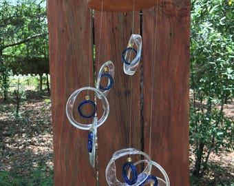 clear, blue, GLASS WINDCHIMES-RECYCLED bottles, wind chime, garden decor, wind chimes, home decor, mobile, soothing music