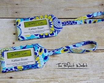 Luggage Tags-Fabric Baggage Tags-ID Tags-Fabric Baggage ID Luggage Tags-Set of TWO Blue Floral Luggage Tags