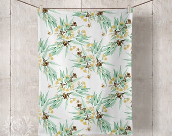 Linen Tea Towels, Eucalyptus Yellow Flowering Gum Blossom with Bees. Custom Printed in Australia. Handmade to Order - Ships in Feb 2018