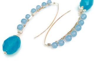 Blue Quartz  Earrings Bright Blue Silver Dangles  Long Wire Wrapped Earrings with Jade beads