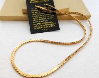 "Retro Vintage Gold*N*Treasures 24"" Gold Tone Chain Necklace KK28"