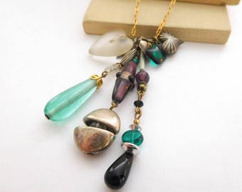 Vintage Purple Green Glass Lucite Heart Boho Eclectic Charm Pendant Necklace C8
