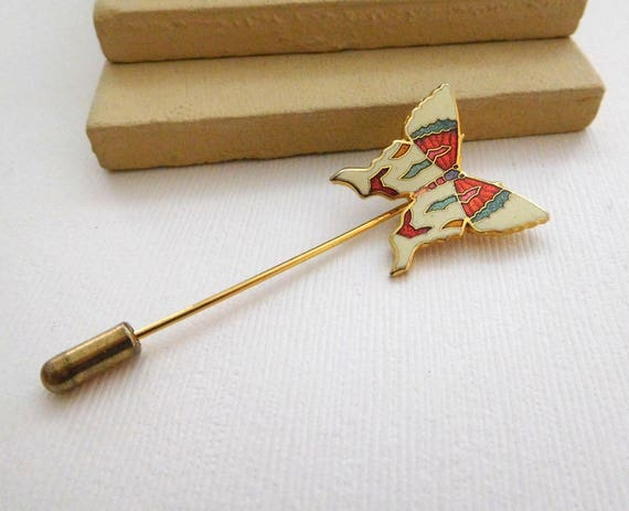 Vintage White Pink Turquoise Blue Enamel Gold Butterfly Stick Hat Pin UU44