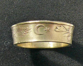 Coin Ring 1989 Turkey 500 Lira, Ring Size 8 and Double Sided