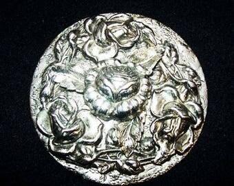 "Art Nouveau Rose Flower Brooch Repousse Silver Metal HUGE 2.5"" Vintage"