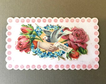 Lovely Victorian Calling Card-Dove, Roses and For-Get-Me-Nots
