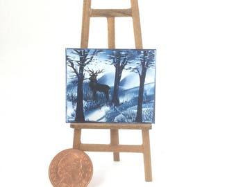 Stag in a Winter snow scene Miniature  Picture Original Art In Wax
