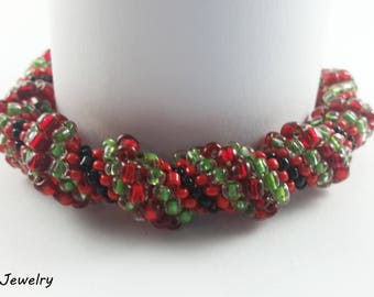 Cellini Spiral Beading Bracelet HANDMADE Silver & Red/Green/Black Glass Beads Fashion Accessory