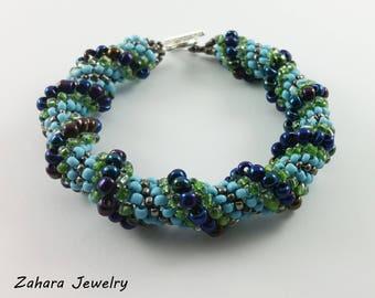 Cellini Spiral Beading Bracelet HANDMADE Silver & Sea Colors Glass beads Fashion Accessory
