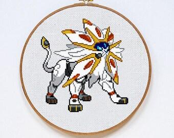 Pokemon Solgaleo cross stitch pattern, Instant Download, PDF
