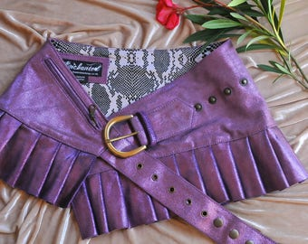 Pink shimmer steampunk burning man leather  mini skirt mini skirt  leather skirt