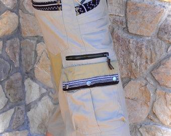 Mens cargo pocket  pants, biker cargo shorts, Burning man short pants, Tribal mens shorts, Mens pocket pants
