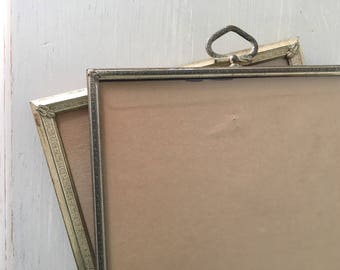 8x10 Pair of Vintage Picture Frames / Lovely Antique Silver Metal with Art Deco Filigree & Hook Top / 1950s-1960s