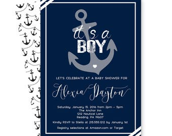Navy Nautical Baby Shower Invitation for Boys - Seashore Invites - Anchor Baby Shower - Beach - Baby Boys Sprinkle - Printable or Printing