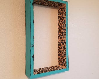 Turquoise and Cheetah wall shelf