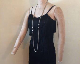 Roaring Twenty 1920s  Flapper Costume Black Fringed Party Dress Small Medium