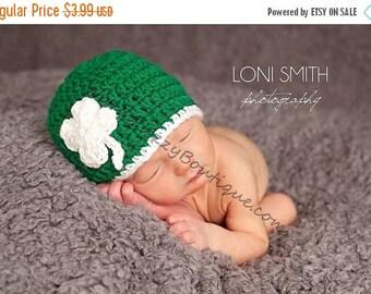 SUMMER SALE Instant Download PDF Crochet Pattern - No. 28 Baby Leprechaun 4 Leaf Clover Shamrock Hat - 6 Sizes
