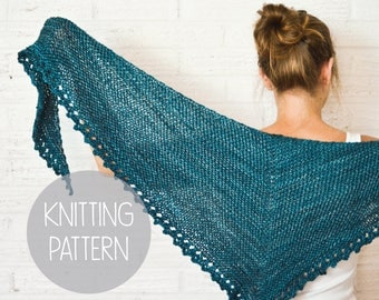 knitting pattern asymmetric knit spring textured shawl - the solstice scarf