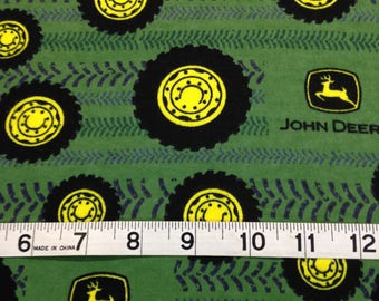 John Deere green Tires and Tread Flannel Fabric, farmers fabric, run like a deere,  by the Yard