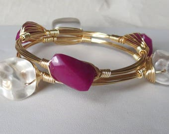 "Ruby Jade Bangle Bracelet ""Bourbon and Bowties"" Inspired"