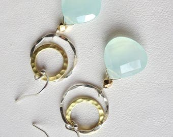 Large Aqua Chalcedony Silver and Gold Earrings