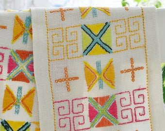 Long dresser scarf colorful embroidery , vintage Swedish table runner, Yellow , Pink, Green