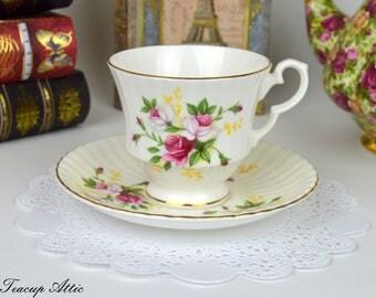 Royal Windsor Teacup and Saucer With Sprays of Roses, English Bone China Tea Cup Set, ca. 1970