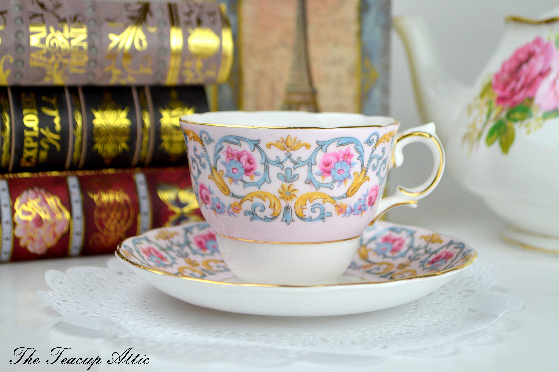Colclough Pink Teacup and Saucer Set,  English Bone China Tea Cup Set, Afternoon Tea Party, ca. 1945-1948