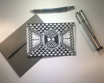 All Roads Lead to Center- black & white, blank flat cards, any occasion, stationery set, hand drawn