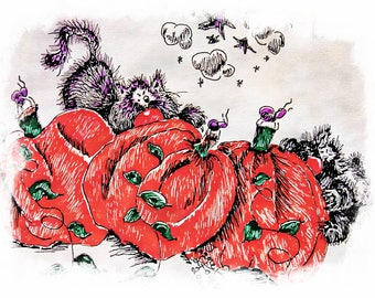 Three digital illustrations of Black Cats in a Pumpking Patch
