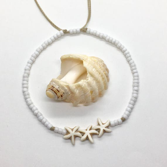 beach anklet, starfish beach jewelry, boho style, gift for her