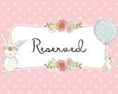 RESERVED Listing for Denise