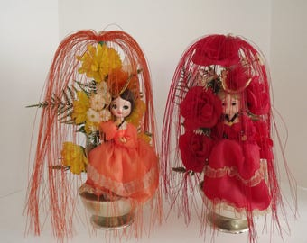 Mid Century Pair of Dolls in Plastic Floral Arrangements,Tripple's Inc, Fabric Flowers, Waterfall Effects, Kitschy Home Decor, Circa 1960's