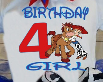 Toy story shirt,FREE SHIPPING,disney toy story,blue outfit,birthday girl,jessie,bullseye,red,blue,cow print,