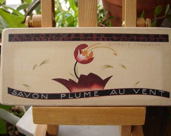 Savon plume shabby chic vintage French savon soap advertising label on wood