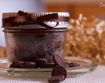 Vegan Chocolate Brownie Cake in a Jar with Whipped Chocolate Buttercream Frosting