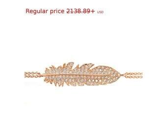 Summer Sale! Diamond Feather Bracelet , Silly Shiny Diamonds, Birthday, Casual, Luck Charm, Lucy Bracelet, Good Luck, Graduation gift