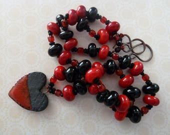 handmade red and black ceramic heart, lampwork and copper necklace, UK jewellery