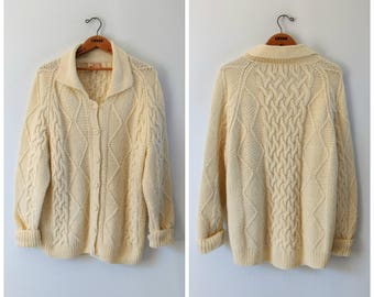 Vintage hand knit cream wool cable knit cardigan, fisherman aran sweater, size large