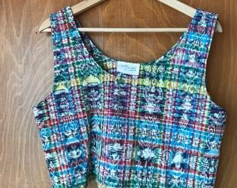 Colorful Guatemalan Woven Cotton Crop Top Tank size M/L