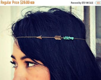 VACATION SALE arrow head chain, turquoise head chain, chain headband, tribal headband, metal headband, unique headband