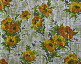 Barkcloth curtain panel, 1960s French green, yellow, orange floral curtain