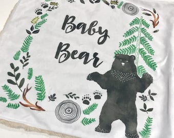 Hello Baby Bear Baby Blanket, Gender Neutral Minky Baby Blanket, Woodland Baby Blanket, Baby Shower Gift, Baby Boy Blanket