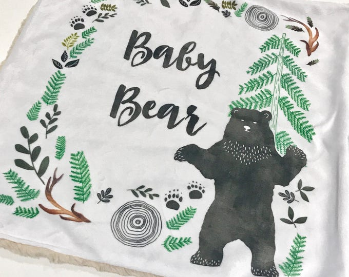 Featured listing image: Hello Baby Bear Baby Blanket, Gender Neutral Minky Baby Blanket, Woodland Baby Blanket, Baby Shower Gift, Baby Boy Blanket