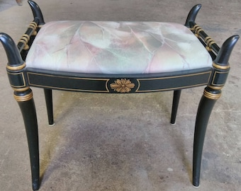 Hollywood Regency Small Black and Gold Finish Wooden Bench