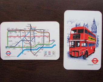 London Underground and Double Decker Bus Playing Cards Double Deck Waddingtons Leeds & London