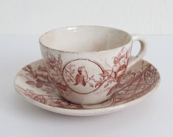 Adelaide Pattern Art Nouveau Small Cup and Saucer 1888 by F. W. & Co., Stoke on Trent, England