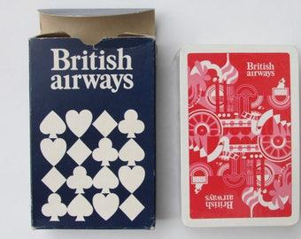 British Airways Playing Cards Vintage c.1980s Sealed Deck in Cardboard Box