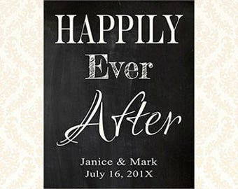 Happily Ever After Wedding Welcome Sign, Printable Personalized Welcome Sign, Custom Bridal Sign