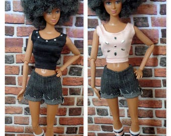 2 Studded Tank Tops for Barbie or similar fashion doll